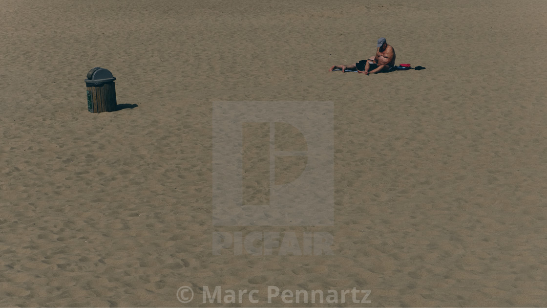 """""""The Old Man and The Beach"""" stock image"""
