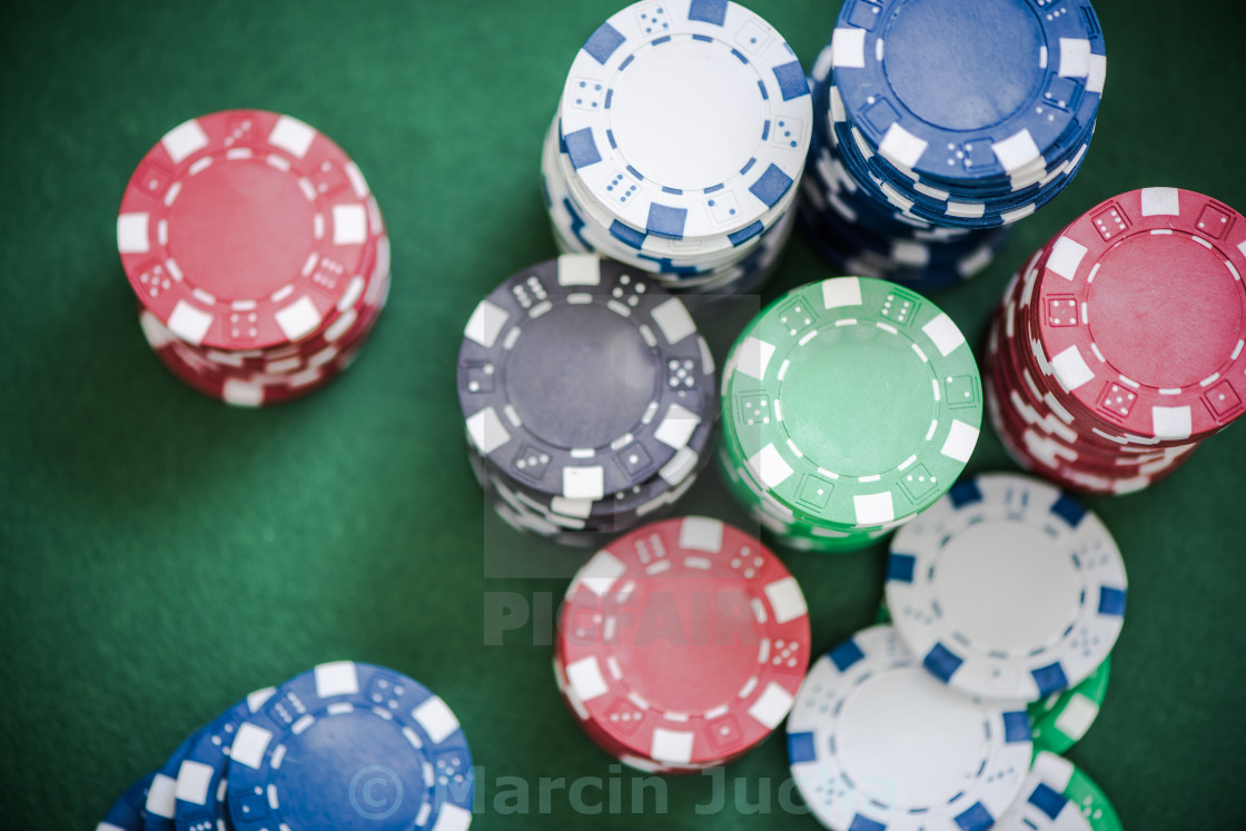 """""""casino chips piles from overhead"""" stock image"""
