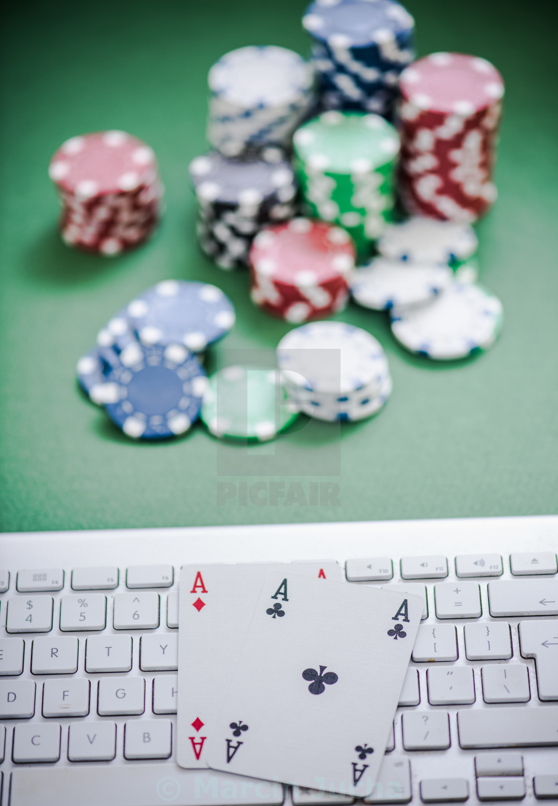 """""""Aces on keyboard,online casino"""" stock image"""