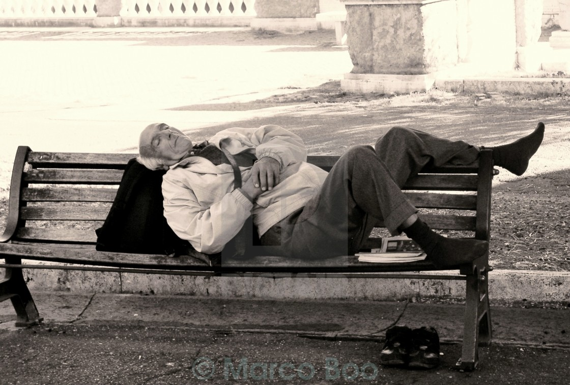 """Asleep on a Bench"" stock image"