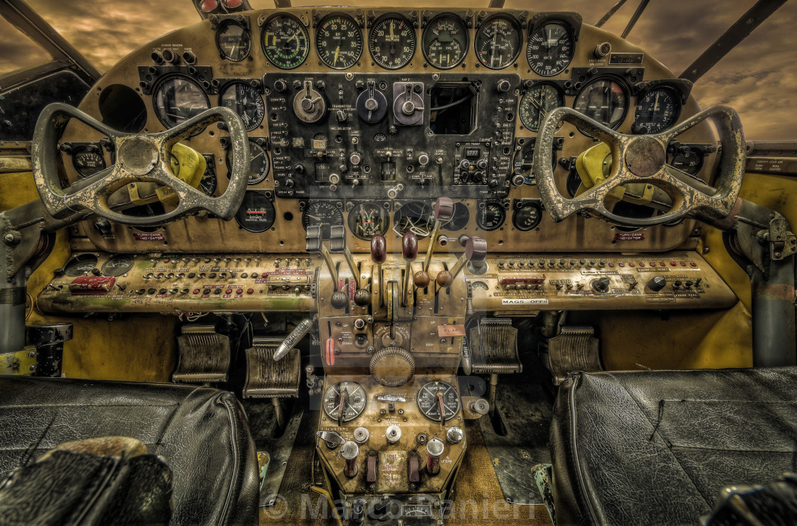 """Old Airplane Cockpit"" stock image"