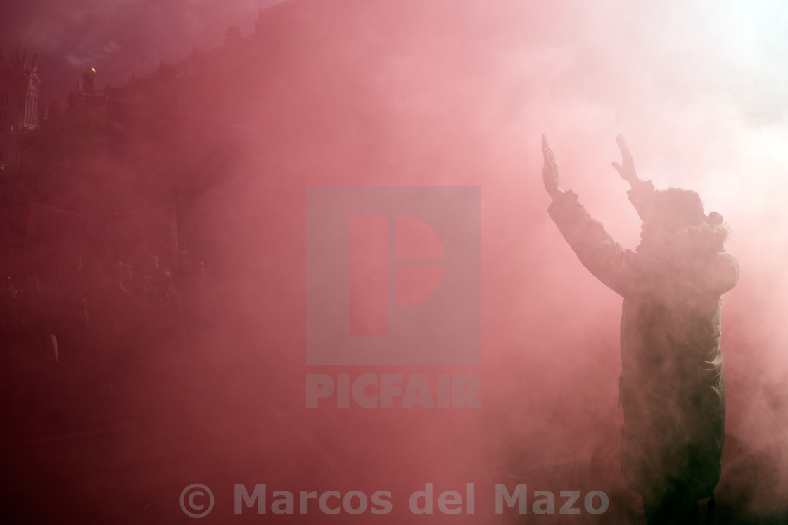 """Protester in the smoke"" stock image"