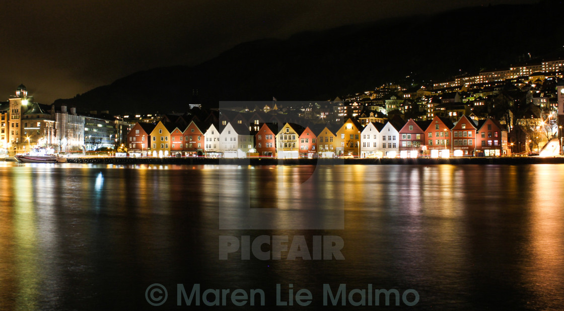 """Downtown Bergen, Norway, by night"" stock image"
