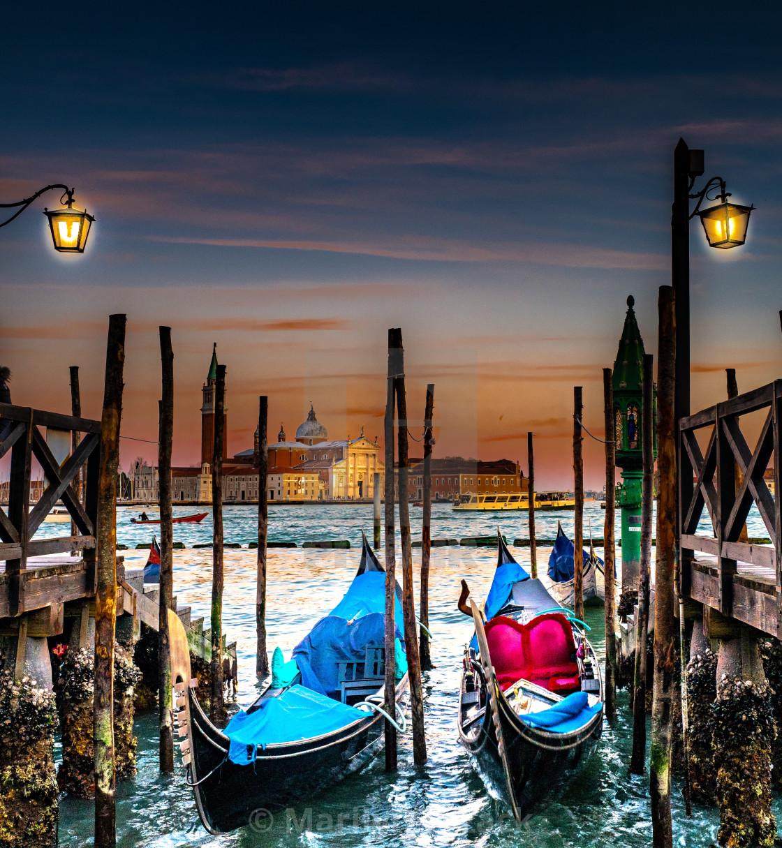 """Gondolas at night"" stock image"