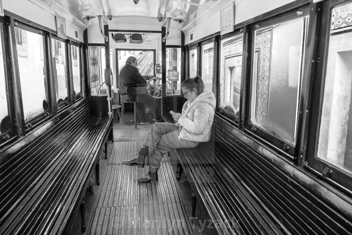 """Riding the Lisbon tram"" stock image"