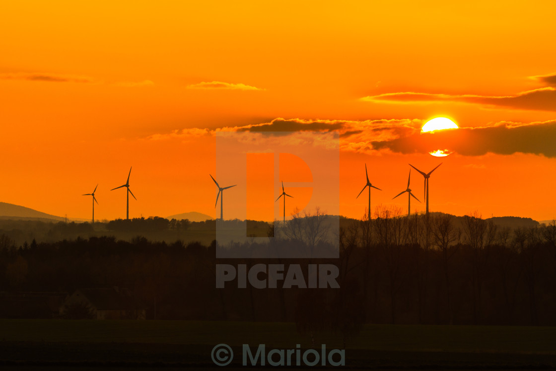 """""""sunset with windmills"""" stock image"""