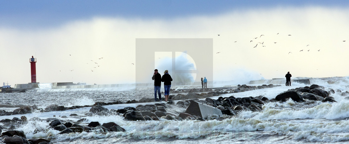 """""""Sea gate of the Riga port in stormy weather"""" stock image"""