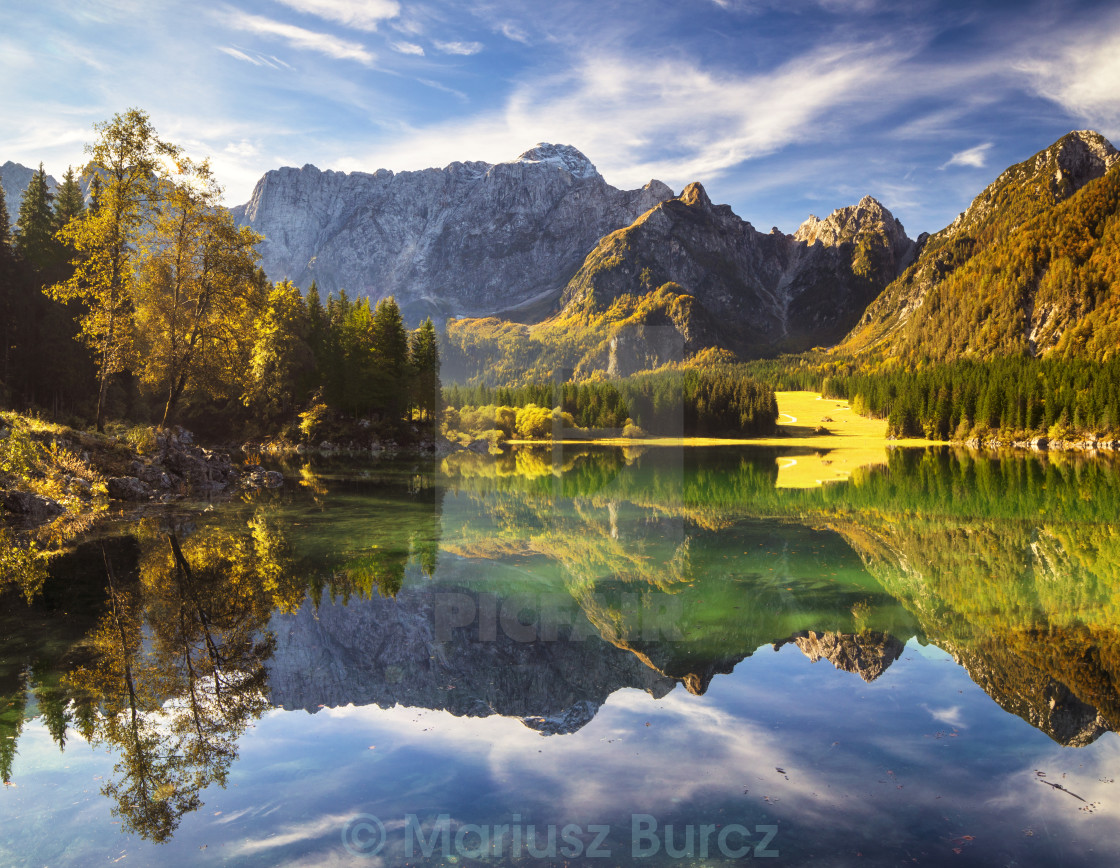 """Hi-res panorama of mountain lake in the Alps"" stock image"