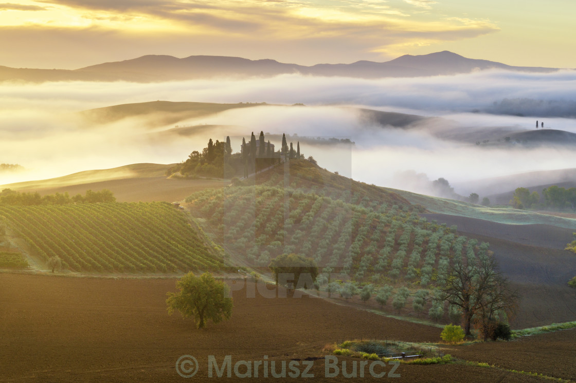 """farmhouse in the Tuscan hills of the beautiful autumn morning"" stock image"