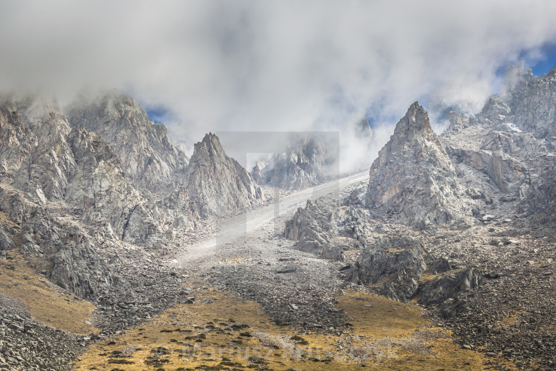 """""""The panorama of mountain landscape of Ala-Archa gorge in the sum"""" stock image"""