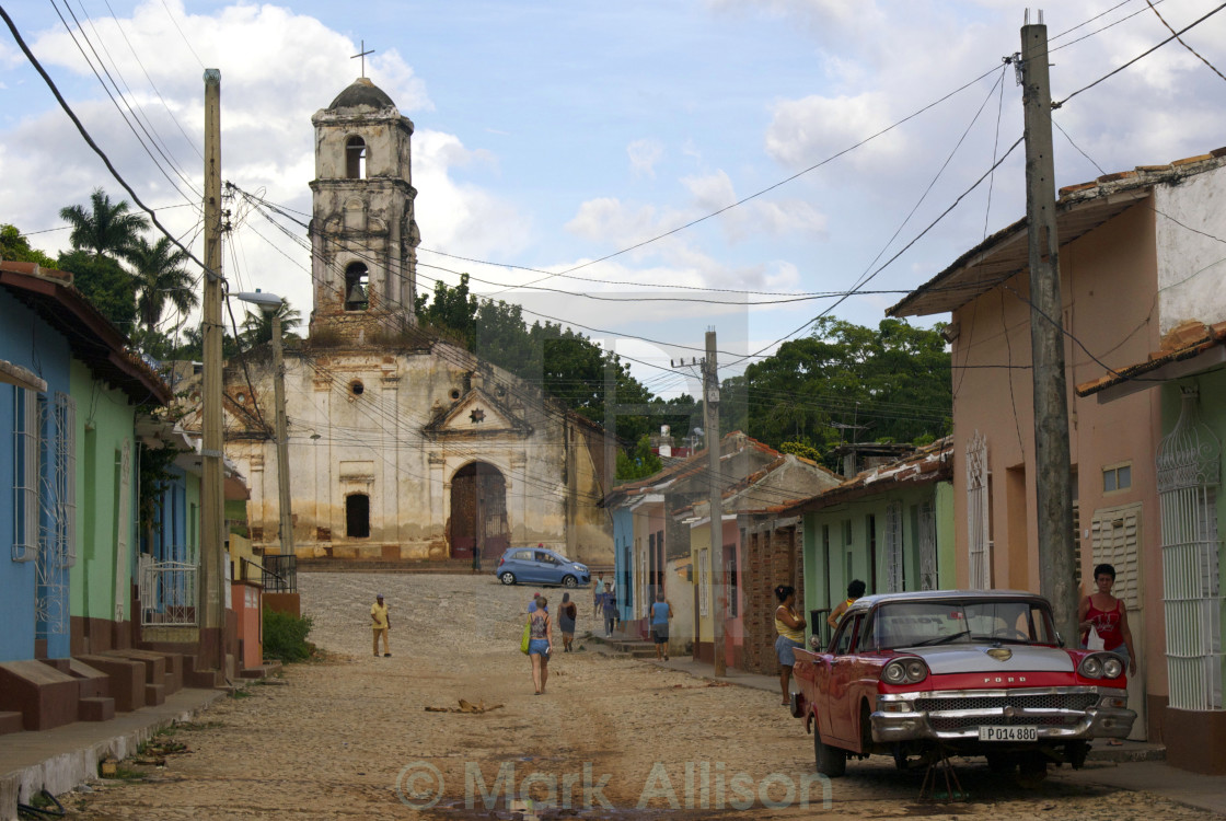 """Cuban street and church"" stock image"
