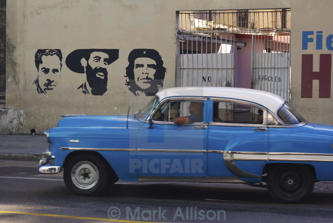 """""""Vintage car in front of mural"""" stock image"""