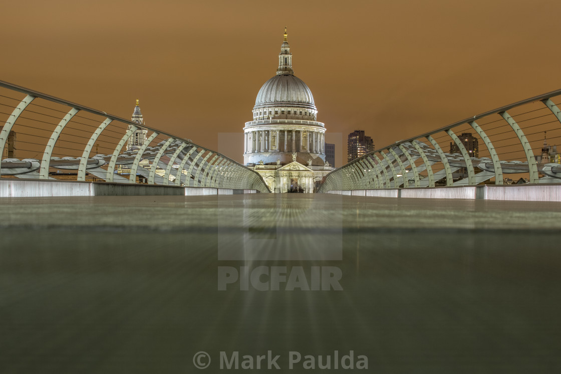 """Millennium Bridge to St Paul's"" stock image"