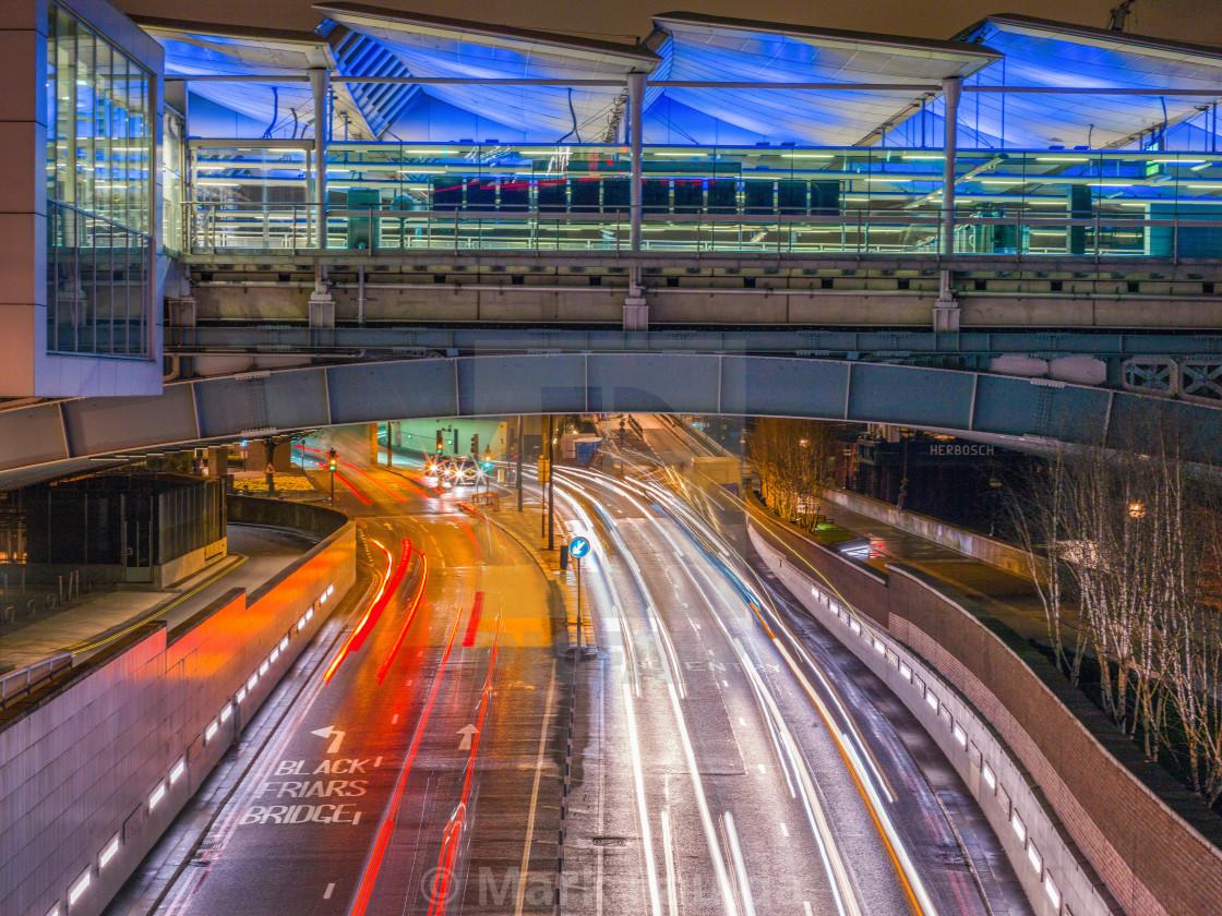 """Traffic Under Blackfriars Rail Bridge"" stock image"