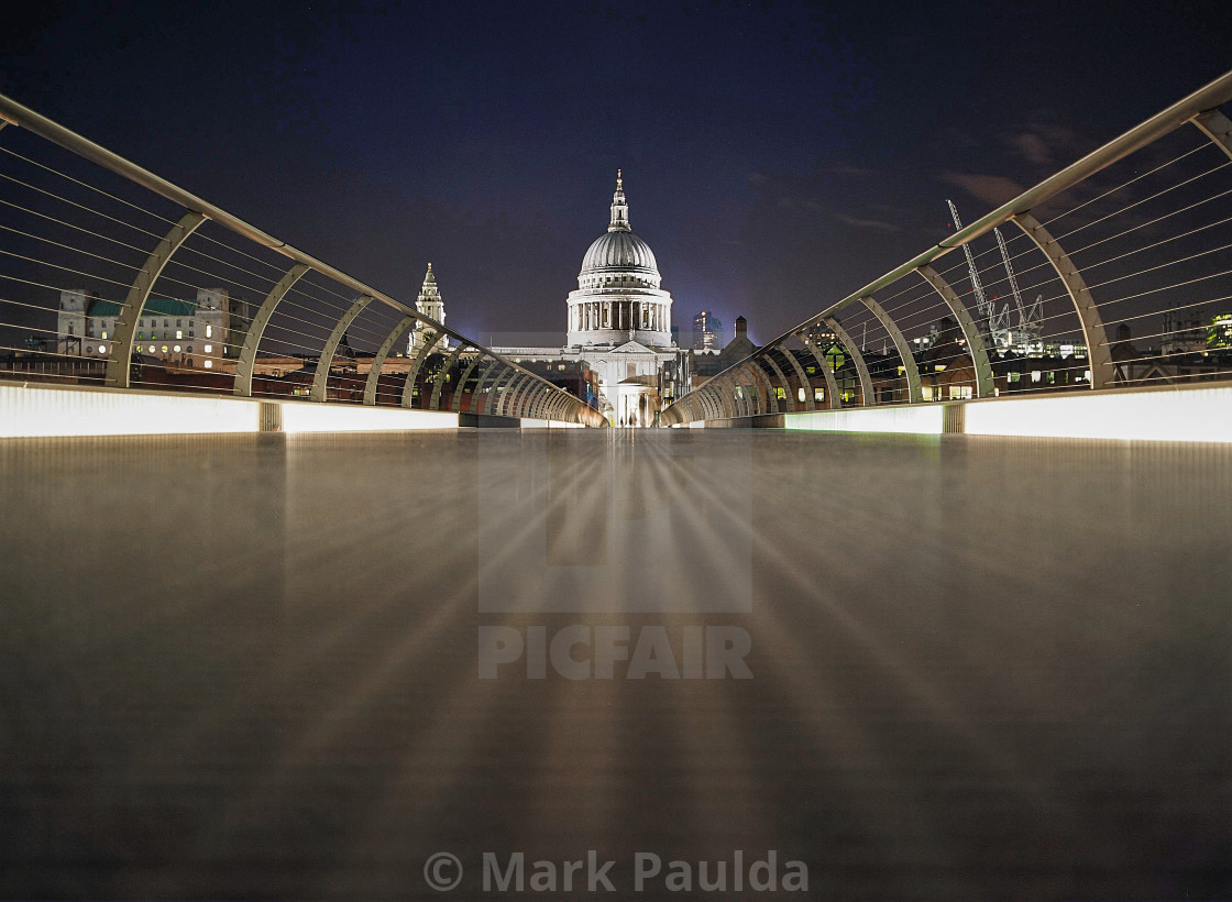 """Illuminated St Paul's Cathedral"" stock image"