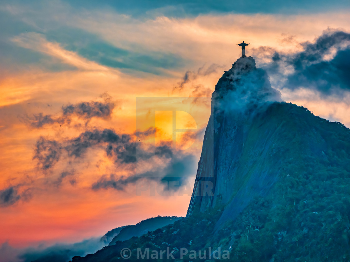 """Dramatic Sunset With Christ The Redeemer"" stock image"