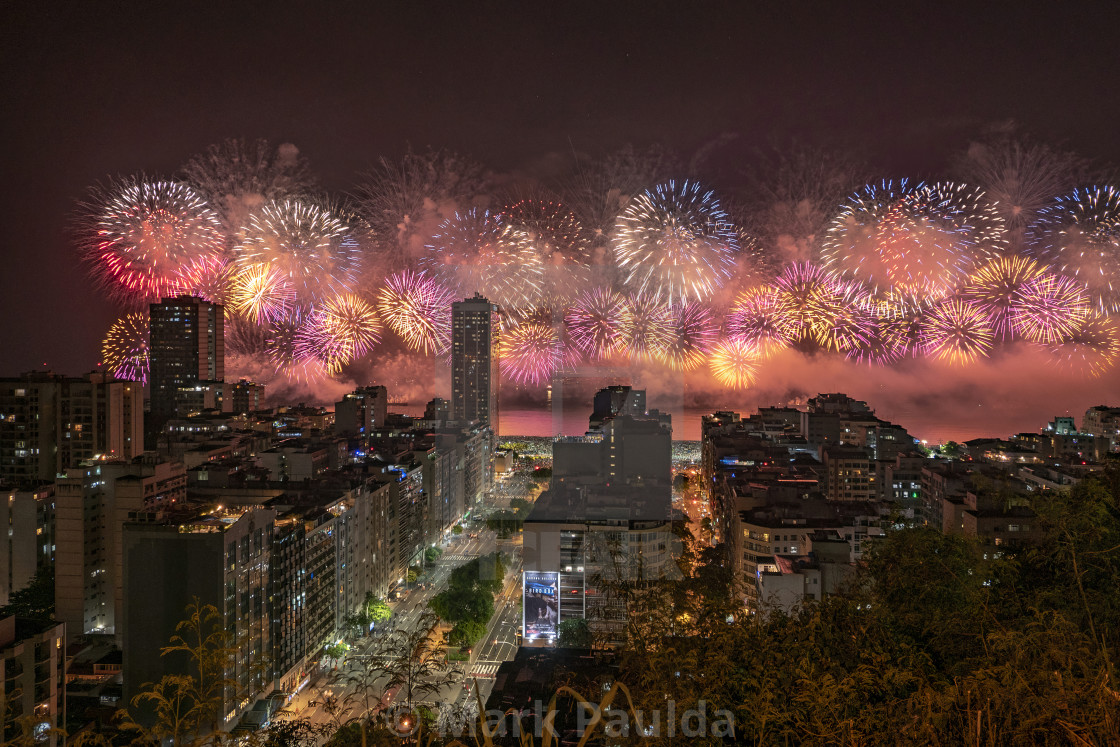 """Copacabana New Year's Fireworks"" stock image"