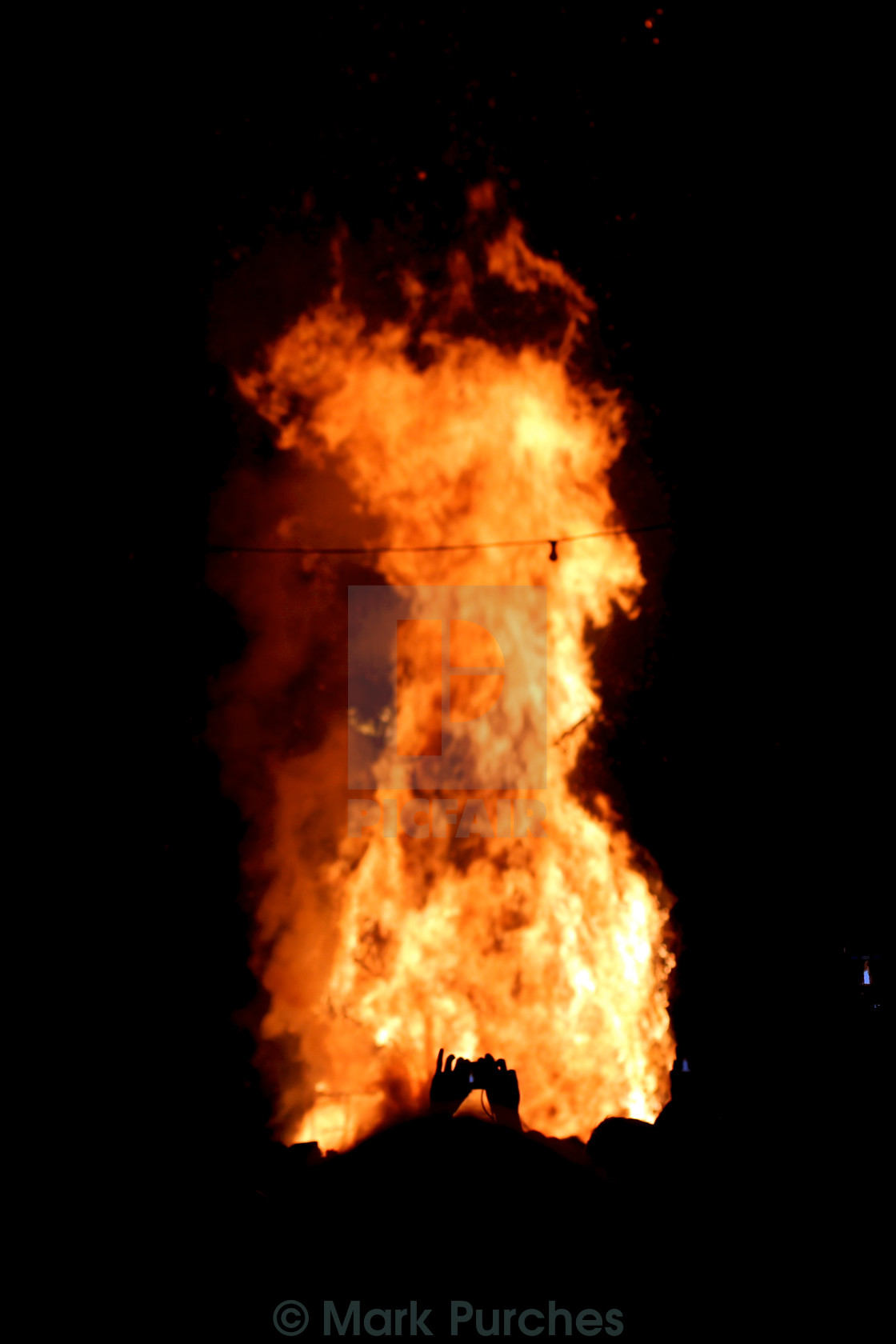 """Burning Man Flames at Greenman Festival"" stock image"