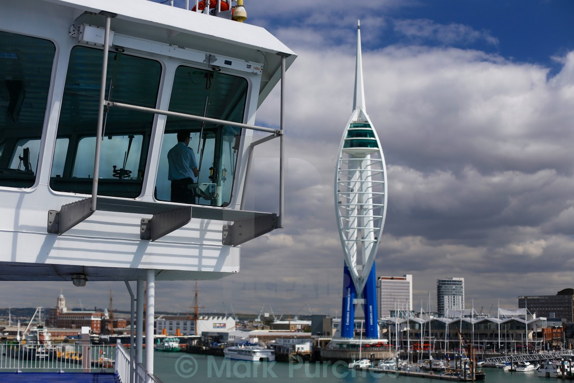 """""""Captain Sailing into Portsmouth"""" stock image"""