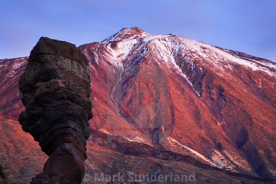 """Roque Cinchado and Mount Teide Before Dawn"" stock image"