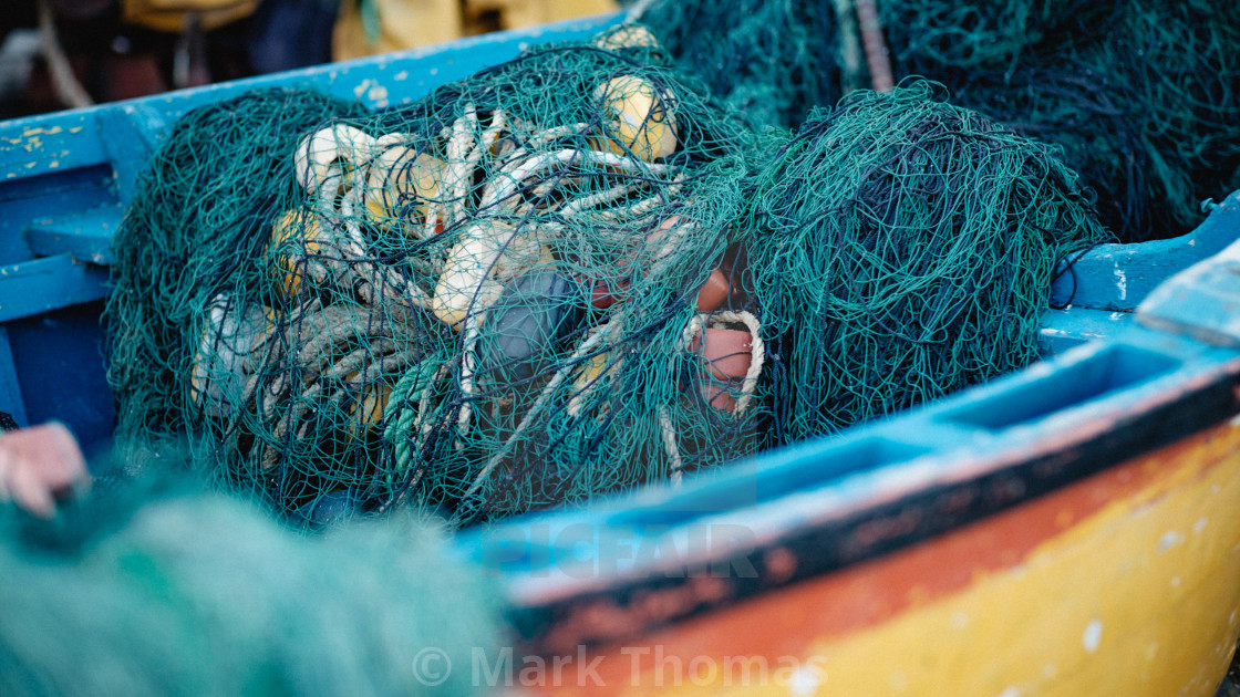 """Fishing nets on a boat"" stock image"