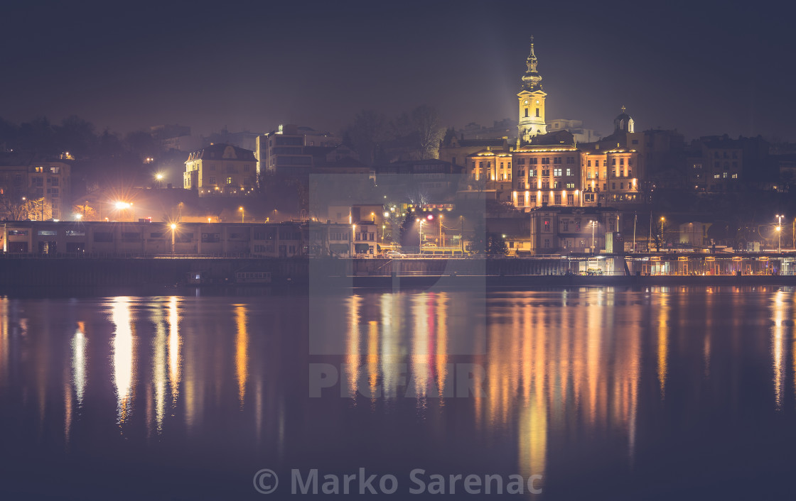 """Saborna church by night haze effect"" stock image"