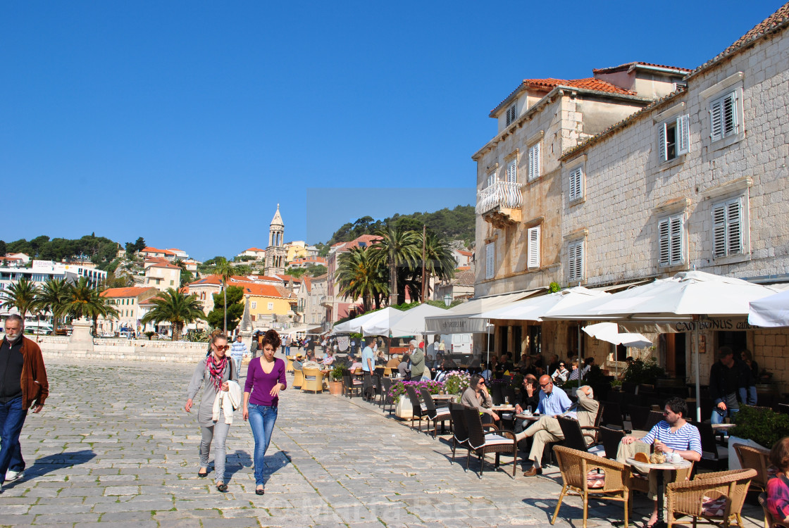 """""""Tourists in old town Hvar"""" stock image"""