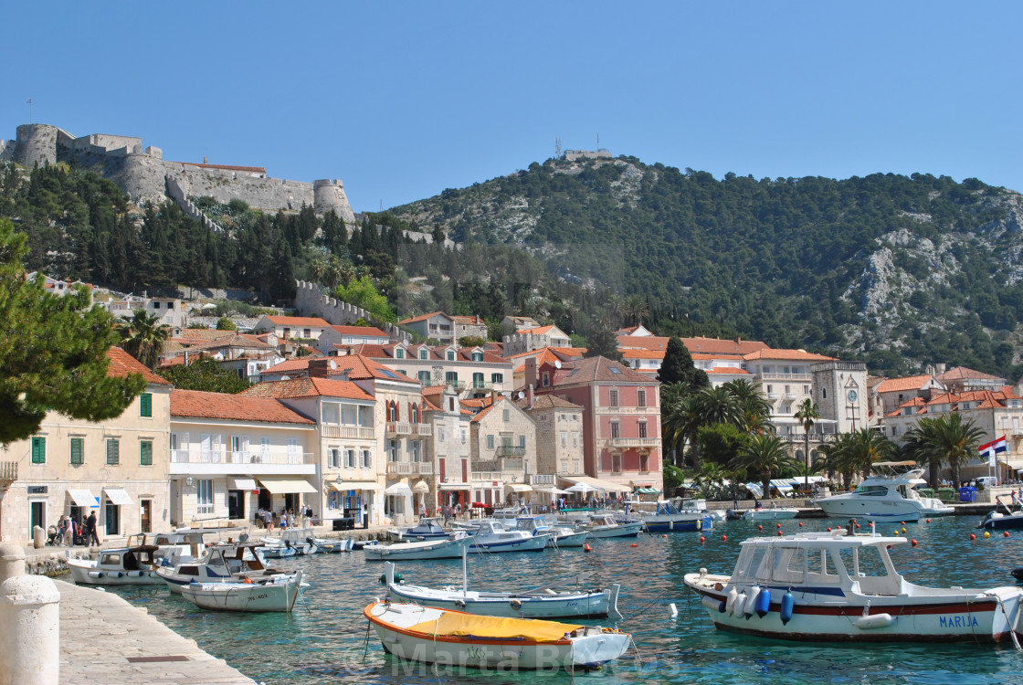 """""""Boats in harbour Hvar town"""" stock image"""