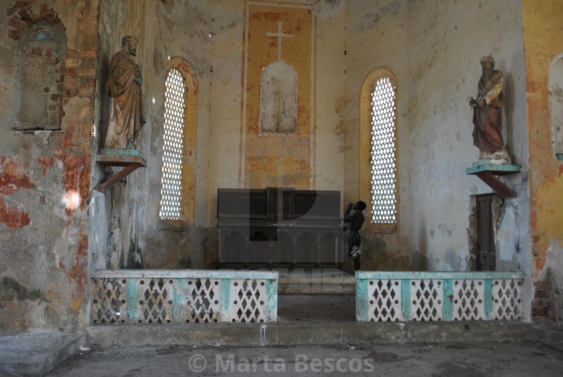 """Church on the island of Carabane (Karabane) , in southern Senega"" stock image"