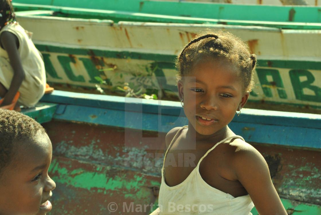 """Girls from the island of Carabane, Casamance, Senegal"" stock image"