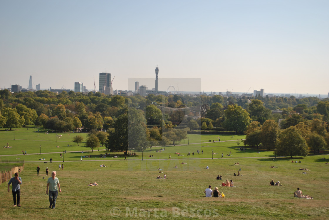 """""""View of London skyline from Primrose Hill on a sunny summer day, London, England, UK"""" stock image"""