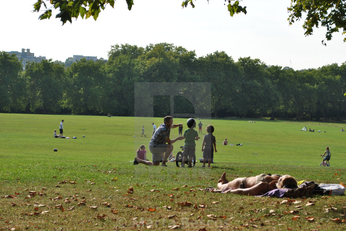 """People on Primrose Hill on a sunny summer day, London, England, UK"" stock image"