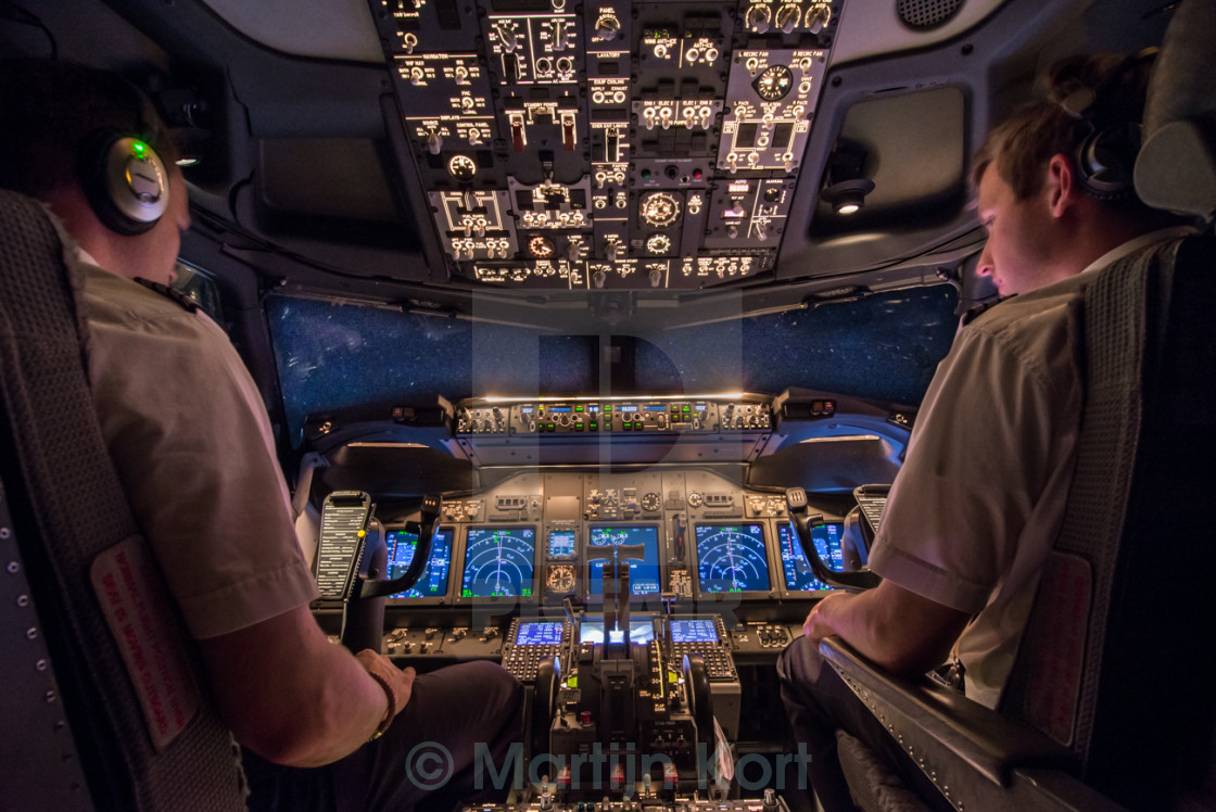 """Cockpit Boeing 737 at night"" stock image"
