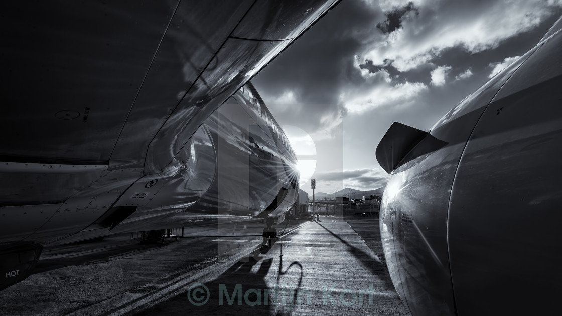 """Airplane reflection"" stock image"