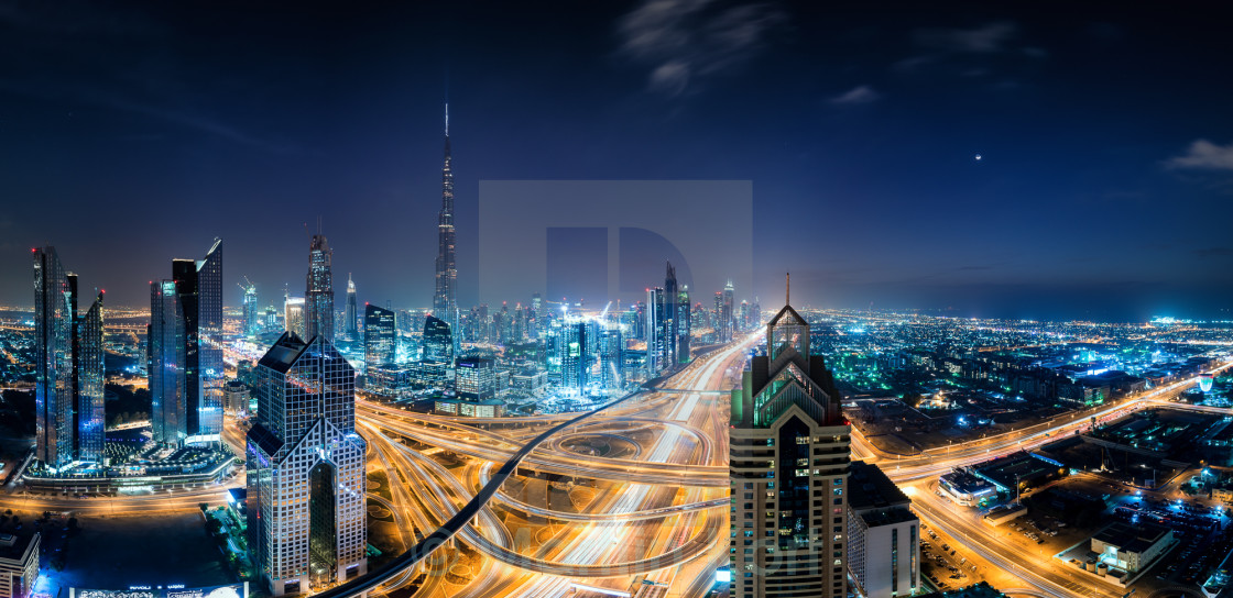 """Sundown at Dubai Skyline"" stock image"