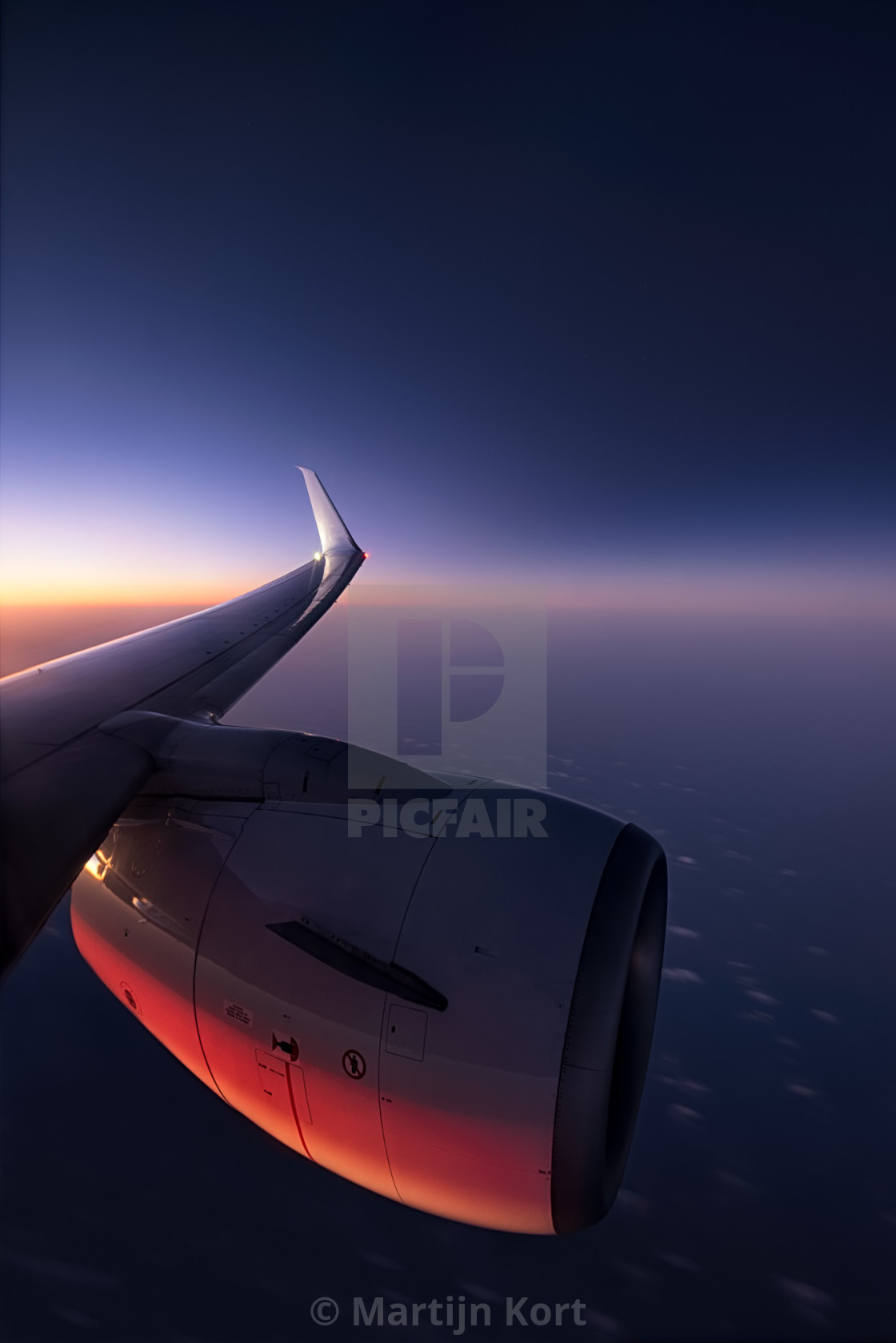 """Jet engine at sunset"" stock image"