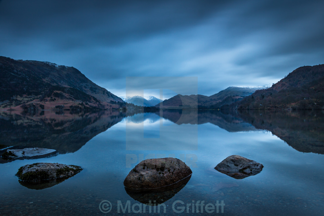 """Ullswater before sunrise"" stock image"