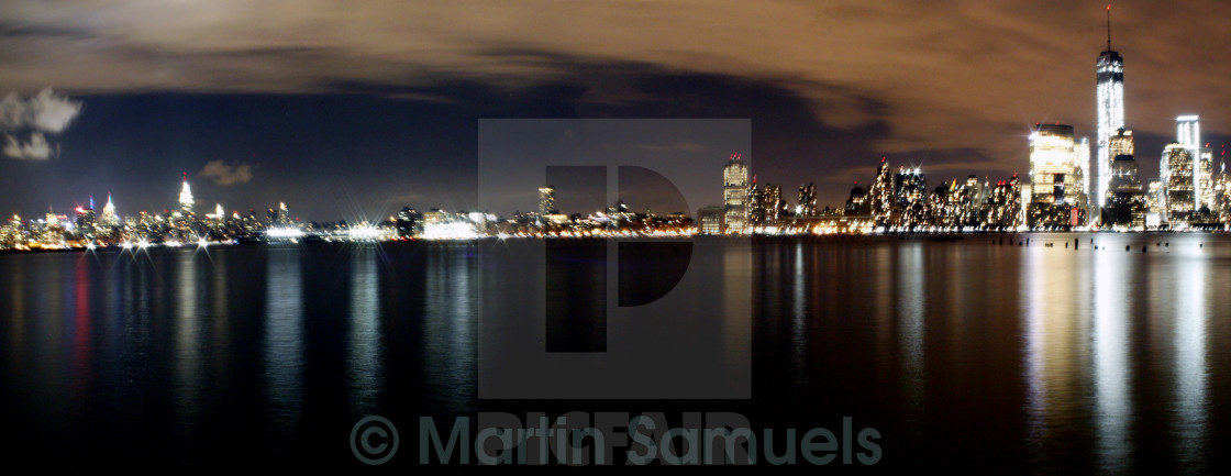 """Manhattan skyline at night"" stock image"