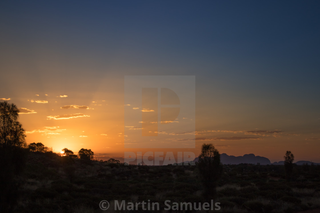 """Sunset in the desert over Kata-Tjuta / The Olgas"" stock image"