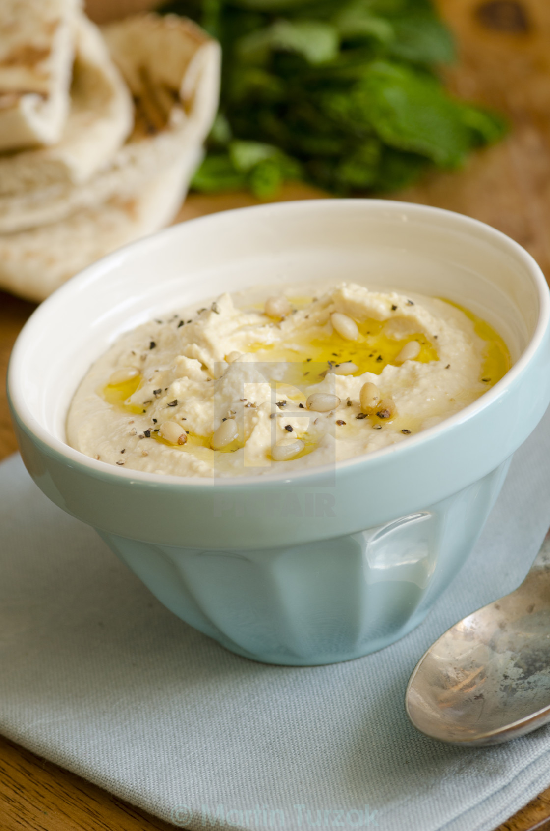 """Hummus with pita bread"" stock image"