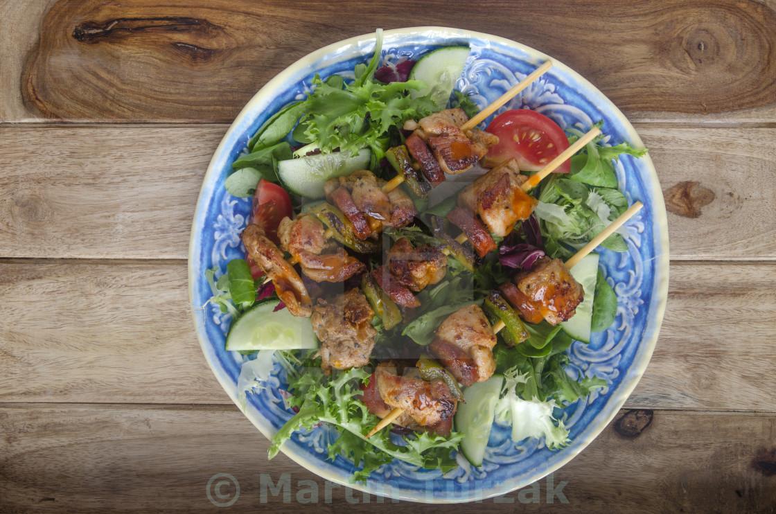 """""""Chicken and Chorizo skewers"""" stock image"""