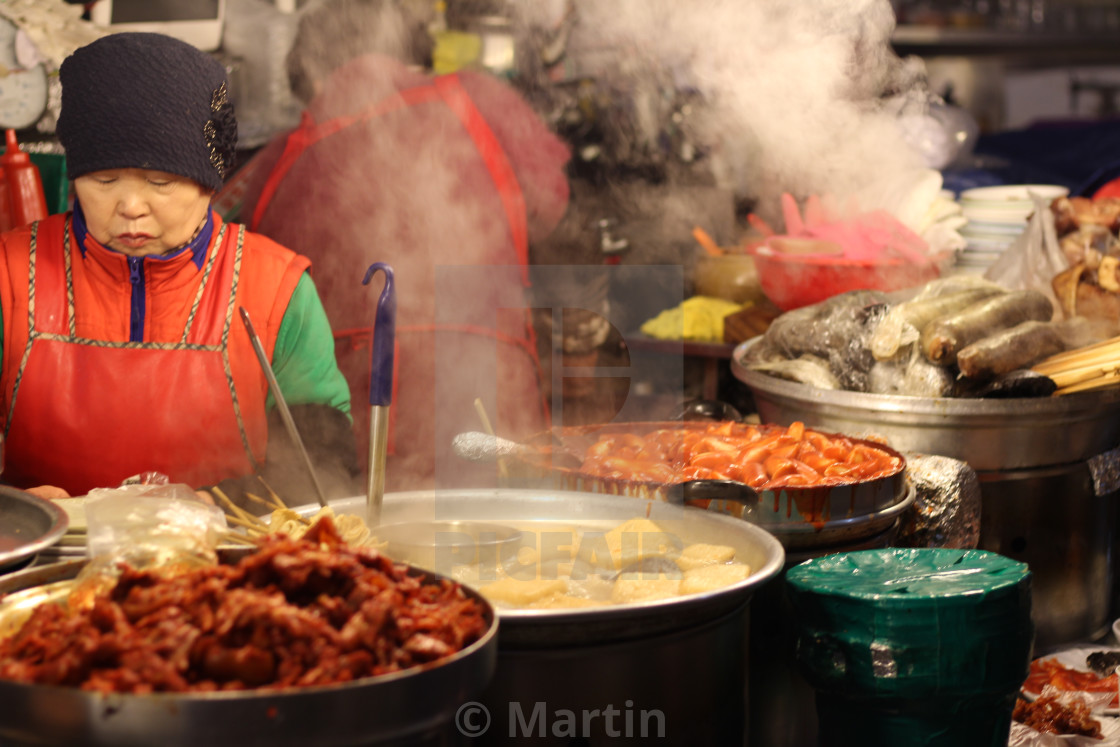 """Seoul Food Market Lady"" stock image"