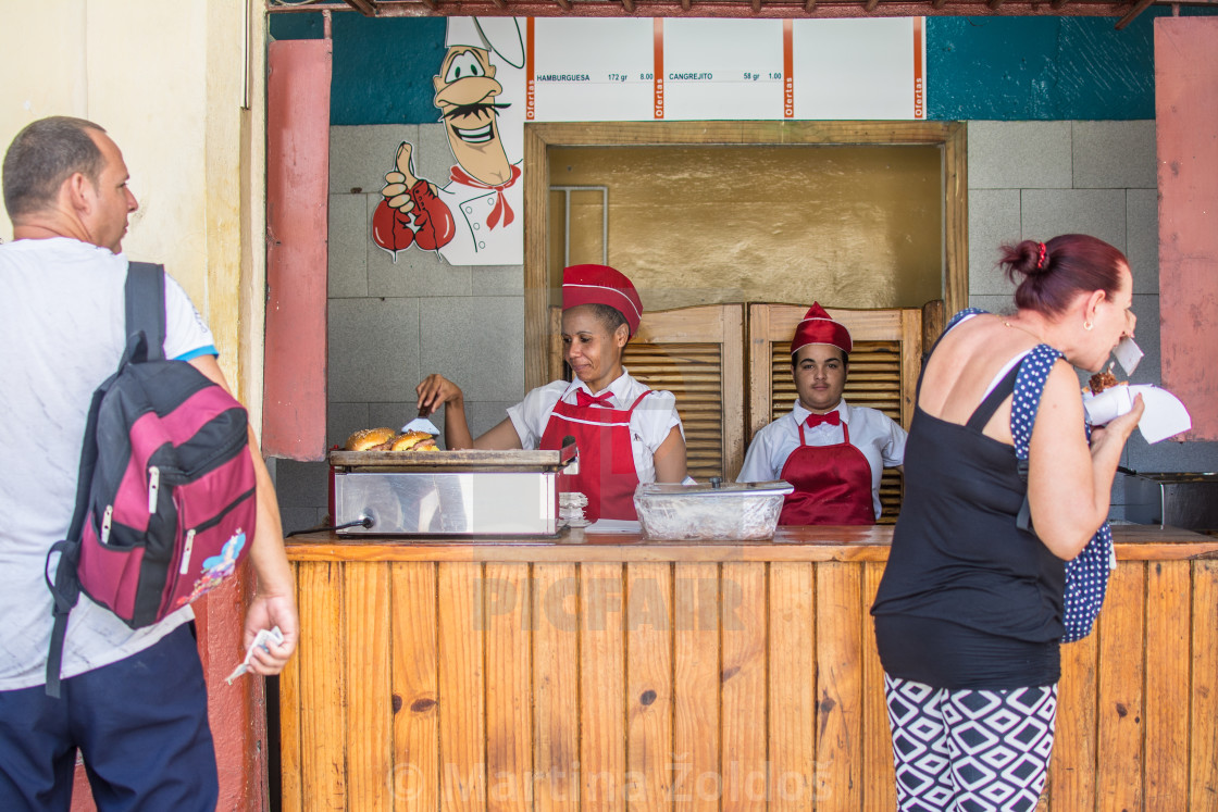 """Selling chicken in Havana"" stock image"