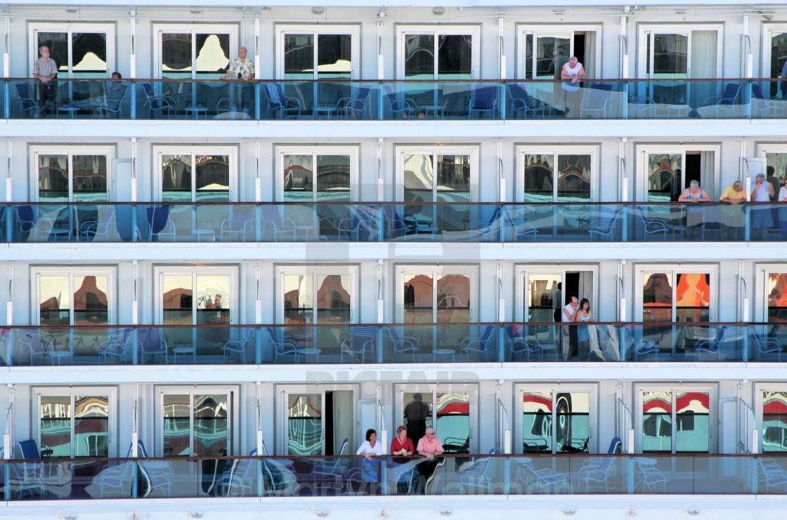 """Cruise ship balconies"" stock image"