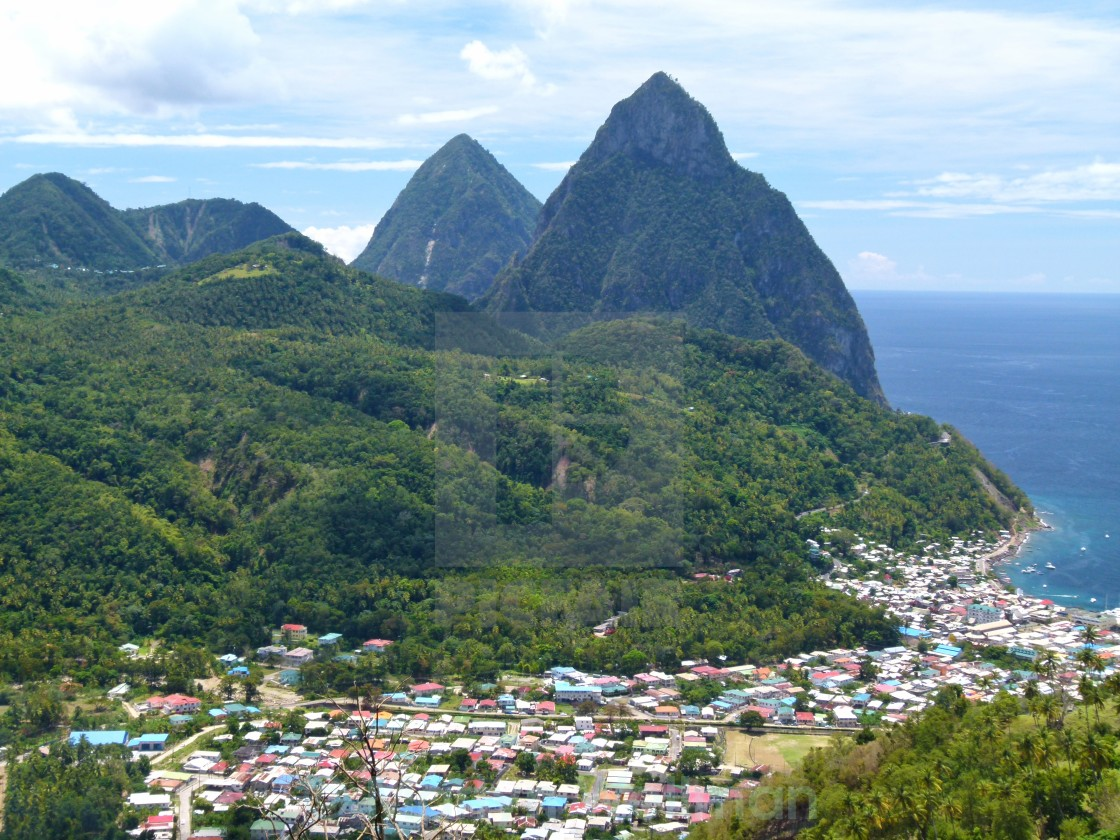 """The Pitons, St Lucia"" stock image"
