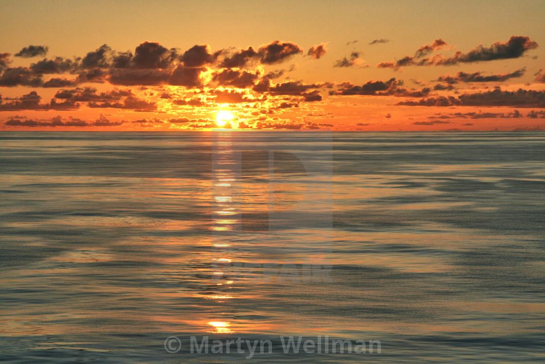 """Sunset at sea 1"" stock image"