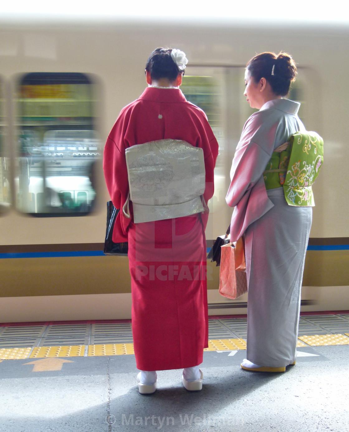 """Kimonos at Kyoto train station"" stock image"