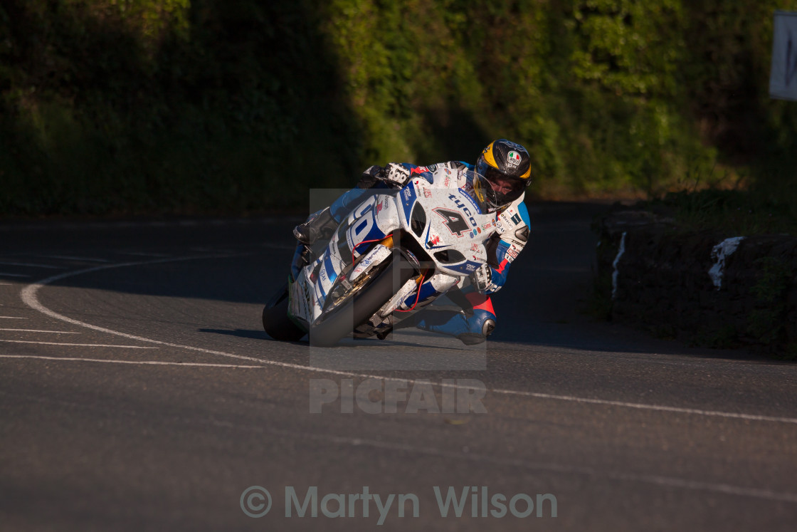 """Guy Martin at Greeba Bridge"" stock image"
