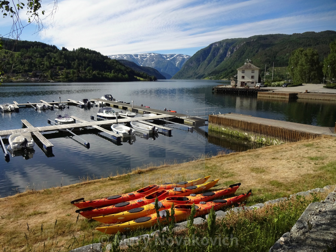 """""""Boats and kayaks in Ulvik fjord, Norway"""" stock image"""