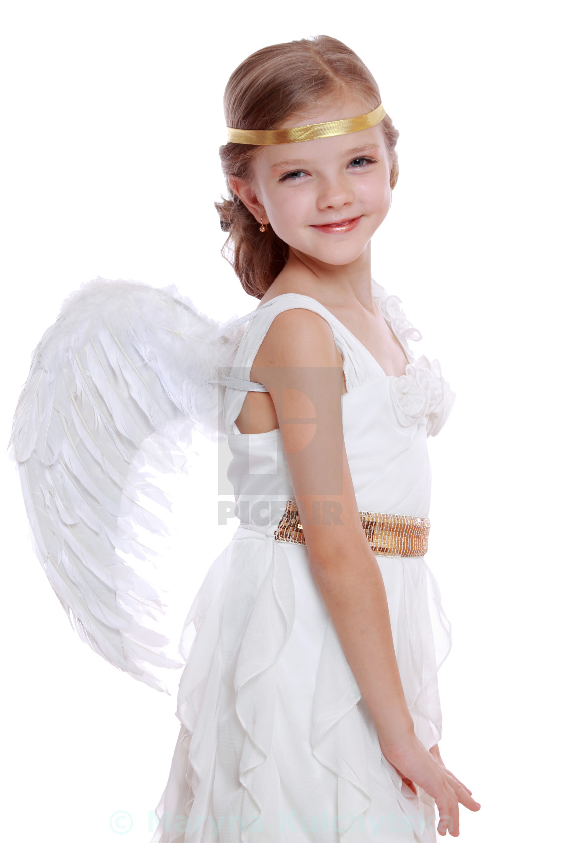 Pretty Portrait Of Young Angel Girl Praying Isolated On White